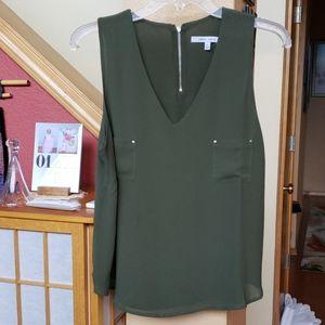 Olive green Naked Zebra tank blouse size L